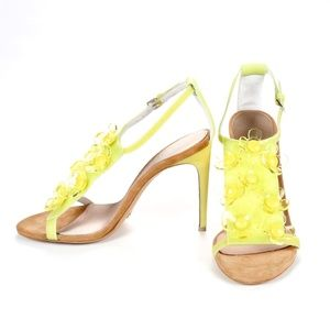 Burberry Lime Floral Sandals Size 5.5